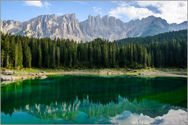 Peter Wey - Panoramic view of karersee with Latemar mountain range, Dolomites, Italy