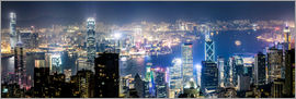 Matteo Colombo - Panoramic of Hong Kong harbour at night from Victoria peak