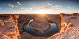 Matteo Colombo - Panoramic of Horseshoe bend on the river Colorado at sunset, Arizona, USA
