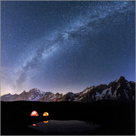 Roberto Moiola - Panorama of Mont Blanc, Mont De La Saxe and Grand Jorasses under the starry sky, Graian Alps, Courma