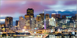 Matteo Colombo - Panoramic of San Francisco downtown district skyline at night, California, USA