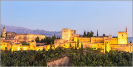 Matteo Colombo - Panoramic of Alhambra palace at dusk, Granada, Andalusia, Spain