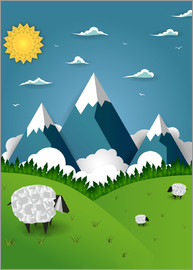 Kidz Collection - Paper landscape with sheep