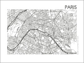 44spaces - PARIS MAP steel-gray