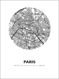 44spaces - PARIS CITY MAP HFR b/w