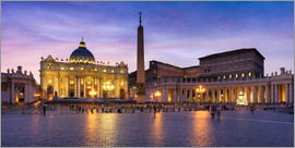 Jan Christopher Becke - St. Peter's Square and St. Peter's Basilica at night, Rome, Italy