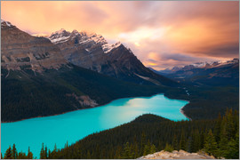 Miles Ertman - Peyto Lake at Sunset, Banff National Park, UNESCO World Heritage Site, Rocky Mountains, Alberta, Can