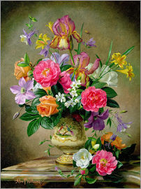 Albert Williams - Peonies and irises in a ceramic vase