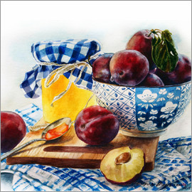 Maria Mishkareva - Plum jam watercolor painting