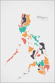 Ingo Menhard - Philippines map modern abstract with round shapes