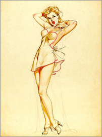 Alberto Vargas - Pin Up Stretching, preliminary drawing
