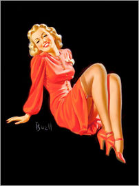 Al Buell - Pin Up - Lady in Red Dress