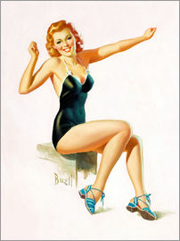 Al Buell - Pin Up - Seated Redhead in Swimsuit