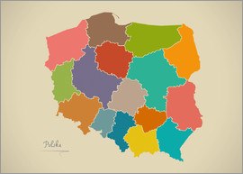 Ingo Menhard - Modern Map of Poland Artwork Design