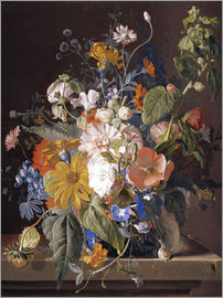 Jan van Huysum - Poppies, Hollyhock, Morning Glory, Viola, Daisies, Sweet Pea, Marigolds and other Flowers in a Vase