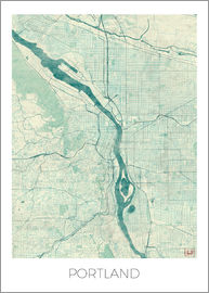 Hubert Roguski - Portland Map Blue