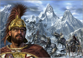 Kurt Miller - Portrait of Hannibal and his troops crossing the Alps.