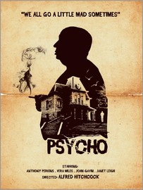 Golden Planet Prints - sycho movie inspired hitchcock silhouette art print