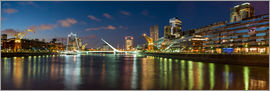 Puente de la Mujer (Bridge of the Woman) at dusk, Puerto Madero, Buenos Aires, Argentina, South Amer