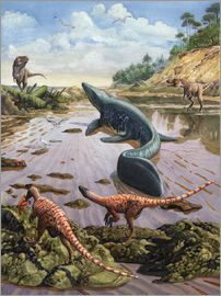Sergey Krasovskiy - Raptors attack a vulnerable Mosasaurus that remained aground at low tide.