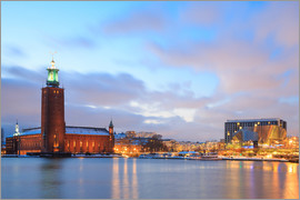 Stockholm City Hall at dusk