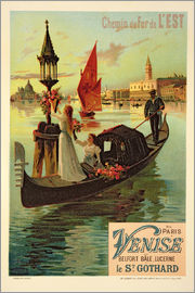 Frederic Hugo D´Alesi - Reproduction of a Poster Advertising the Eastern Railway from Paris to Venice