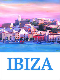 M. Bleichner - Retro Poster Ibiza Old Town and Harbour Pearl Of the Mediterranean