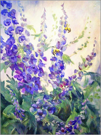 Delphiniums in watercolor