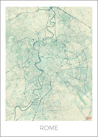 Hubert Roguski - Rome Map Blue