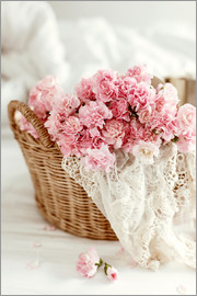 Pink Pastel Flowers in wicker basket
