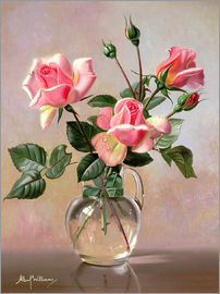 Albert Williams - Pink Roses in a Glass Jug