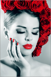 Rose lady with red lips