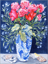 Joan Thewsey - Roses, Carnations and Lobelia in a Blue and White Vase,3 Shells Textiles 2011