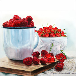 Maria Mishkareva - Red berries watercolor painting