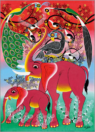 Noel - Red Elephant with peacock