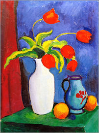 August Macke - Red tulips in white vase