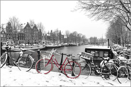 George Pachantouris - Red bicycle in the winter in Amsterdam