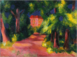 August Macke - The red house at the park