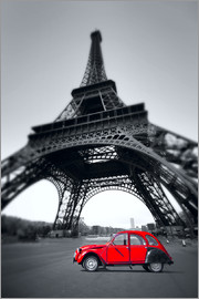 Vintage red car stands on the Champ de Mars