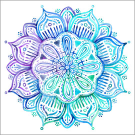Micklyn Le Feuvre - Iridescent Aqua and Purple Watercolor Mandala