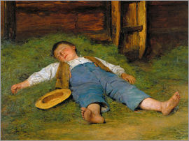 Albert Anker - Sleeping boy in the hay