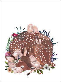 Kidz Collection - Sleeping fawn with bunny babies