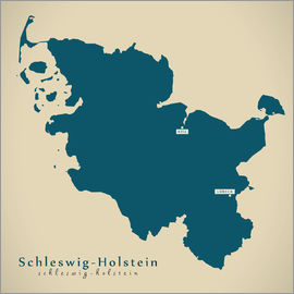 Ingo Menhard - Schleswig Holstein DE Germany Map Artwork
