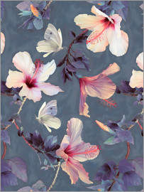 Micklyn Le Feuvre - Butterflies and Hibiscus Flowers - a painted pattern