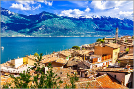 Beautiful Limone village, panoramic view, Lago di Garda, Italy