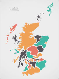 Ingo Menhard - Scotland map modern abstract with round shapes
