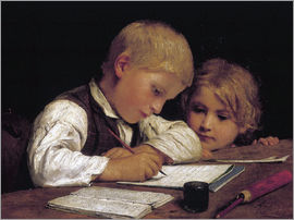 Albert Anker - Boy writing with his sister