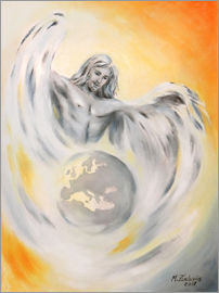 Marita Zacharias - Guardian Angel World Peace - handpainted Angel Art
