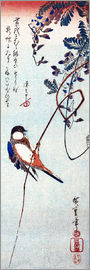 Utagawa Hiroshige - Swallow sitting on a branch of a wisteria