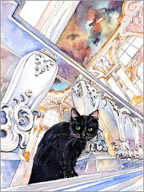 Anastasia Mamoshina - Black Cat at Museum, Saint-Petersburg, Russia